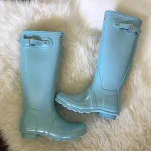Hunter Boots Classic Tall Pale Blue Size 7 NWT